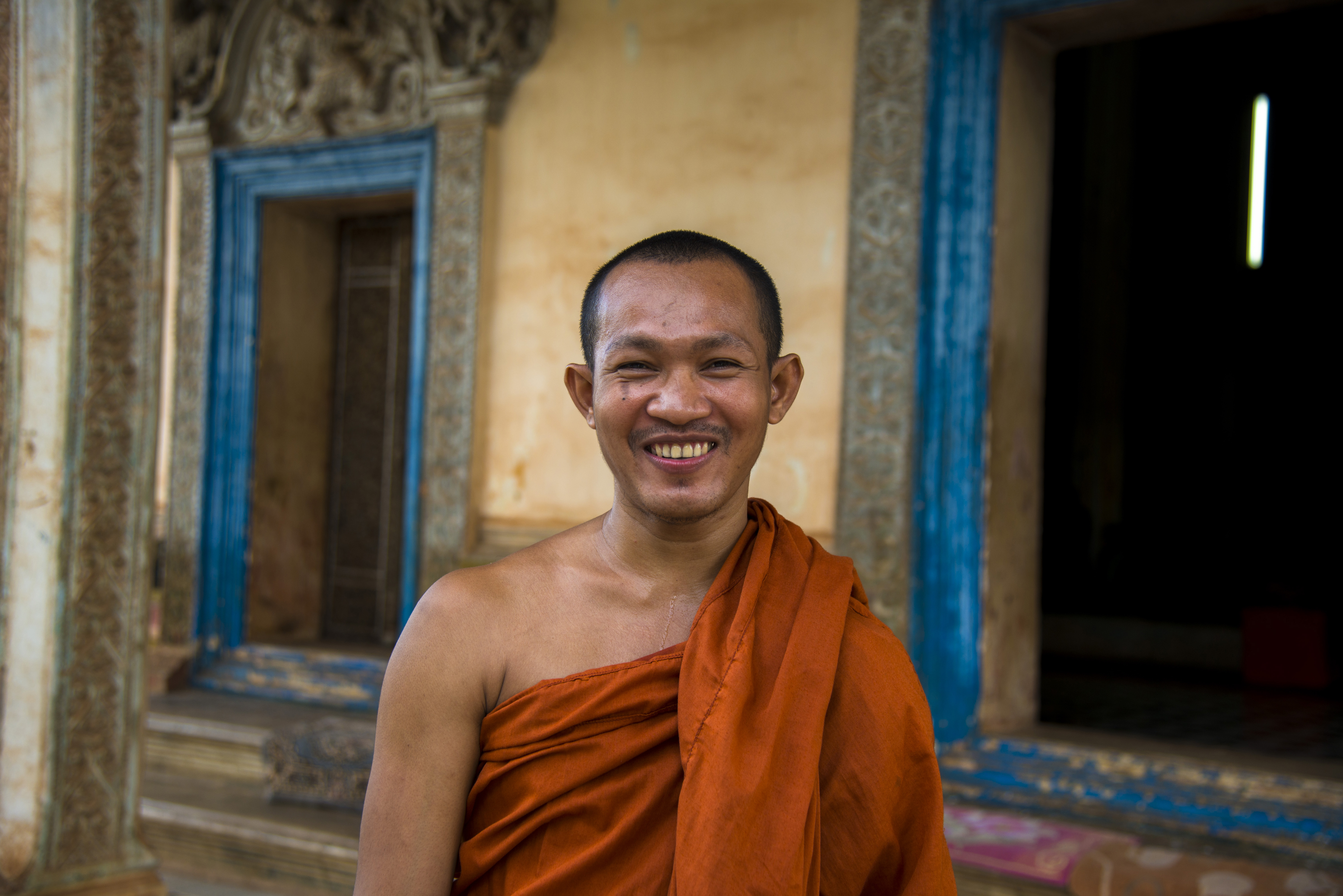 The smile of the monk in Wat Bo pagoda, Siem Reap, Cambodia