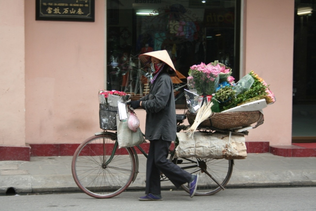 Flowers in bloom on a bicycle in Hanoi's downtown